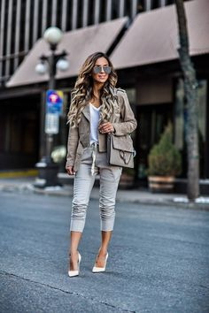 How To Make Joggers Look Chic - BlankNYC Suede Jacket // Sincerely Jules Jogger Pants // T By Alexander Wang White Tee // Christian Louboutin White Heels // Chloe 'Faye' Bag March 2017 by maria Classy Outfits, Chic Outfits, Spring Outfits, Fashion Outfits, Womens Fashion, Fashion Trends, Look Fashion, Winter Fashion, Sweet Fashion