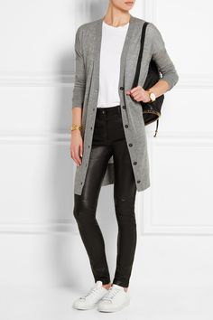Rag & bone | Whitney cashmere cardigan and t-shirt, Givenchy pants, Adidas sneakers, and Stella McCartney backpack.