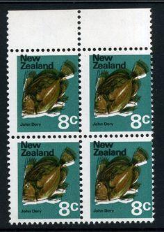 Stamps - Errors #306749 NZ Error 1970 8c John Dory Fish, treble error, purple shifted down, olive upwards, rather striking, white key line, top selv blk 4 ...