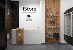 Interior design project of corporate store equipment.