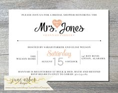 Customizable printable bridal shower invitation available on www.etsy.comshop/junearbordesigns #weddingshower #bridalshower #printableinvitation