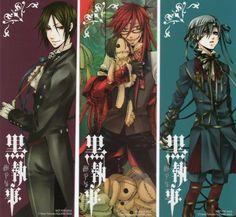 black butler (From left to right) Sebastian Michaelis, Grell Sutcliffe, Ciel Phantomhive