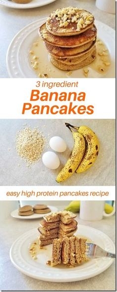 3 Ingredient Banana Pancakes Recipe – Run Eat Repeat Easy 3 ingredient banana pancakes recipe. This quick breakfast recipe only has 3 ingredients that you probably already have! It's gluten free and high protein for a weekday or Baby Food Recipes, Gourmet Recipes, Cooking Recipes, Healthy Recipes, Bolo Paleo, Banana Oatmeal Pancakes, Healthy Banana Pancakes, Banana Pancake Recipes, 3 Ingredient Pancakes Banana