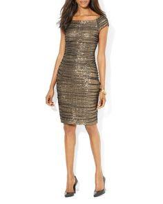 Lauren Ralph Lauren Sequined Mesh Dress | Bloomingdale's