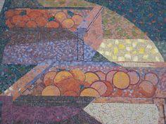 Crates of oranges detail on Millard Sheets's mosaic mural, Anaheim, California