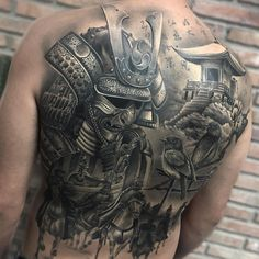 Perfect black and grey Back tattoo artwrks by Camacho Tattoo