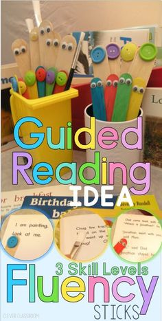 Teach Your Child to Read - Guided reading fluency sticks: 3 levels to help progress reading and increase fluency for beginning readers in Kindergarten and first grade. - Give Your Child a Head Start, and.Pave the Way for a Bright, Successful Future. Guided Reading Strategies, Guided Reading Activities, Guided Reading Groups, Reading Centers, Reading Lessons, Reading Workshop, Kindergarten Reading, Reading Skills, Reading Comprehension
