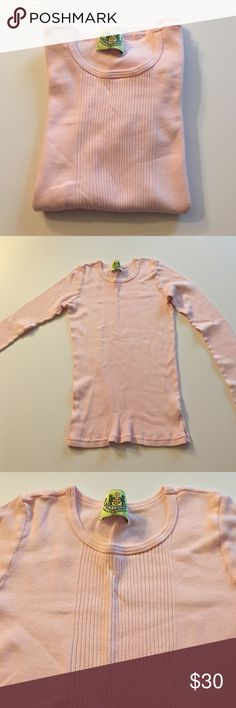 "Juicy Couture Light Pink Ribbed L/S Tee Excellent condition. Minor overall pilling. Light pink long sleeved ribbed  tee. 100% cotton. Soft, stretchy material. 13"" from armpit to armpit. 20.5"" long. Not from a smoke-free house. Juicy Couture Tops Tees - Long Sleeve"