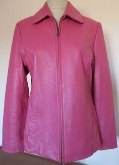 Liz Claiborne Pink Soft Leather Jacket Coat Small    eBay