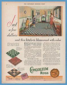 1929 Congoleum Rug Kearny New Jersey Vintage 1920s Kitchen Flooring Decor Art Ad