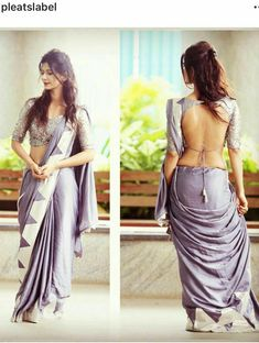 India is so special for the rich cultural variety and colorful dressing traditions. Saree (sari) is the best among Indian dresses. Ladies l. Sari Blouse Designs, Designer Blouse Patterns, Saree Dress, Saree Blouse, Sexy Blouse, Saree Backless, Stylish Blouse Design, Stylish Sarees, Saree Look