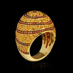 Mousson atelier, collection Caramel - Spiral, ring, Yellow gold 750, Yellow sapphires, Orange sapphires