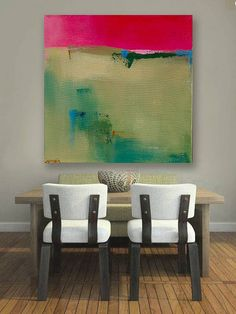 Ready to Hang Minimalist Abstract Landscape, Canvas Print, Large Landscape Print, Modern Art, Green, Red, Natural, Pottery Barn Artist
