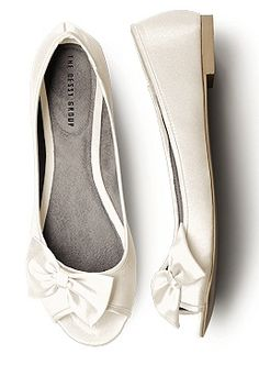 Satin Ivory Peep Toe Ballet Flats $30.00 - just ordered these, thank you SO MUCH for pinning this!!!