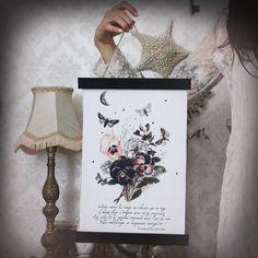 Harmonie du Soir-collection Baudelaire  .tenture bannière imprimé ancienne gravure de fleurs & tissus vintage décoration  gothique magie .