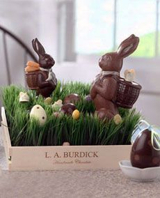 Love the trays of wheat grass. Also love the idea of white cholate bunnies in bell jars Hoppy Easter, Easter Eggs, Chocolate Easter Bunny, Chocolate Rabbit, Easter Table Decorations, Easter Decor, Easter Ideas, Easter Parade, Easter Celebration