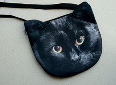 Black cat cross body, cat shoulder bag, cat bag, cat clutch, novelty , pouch, purse, cat lover, cat portrait ,  SB-326 by BENWINEWIN on Etsy https://www.etsy.com/listing/202413590/black-cat-cross-body-cat-shoulder-bag