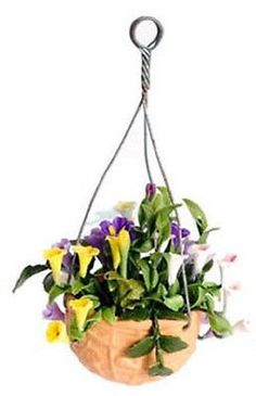 Dollhouse Miniature Hanging Pot with Mixed Flowers #FCA3569