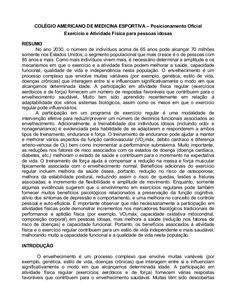 COLÉGIO AMERICANO DE MEDICINA ESPORTIVA – Posicionamento Oficial                    Exercício e Atividade Física para pess...