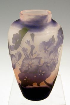 ✨  Emile Gallé, Nancy -  Vase, Blossoms of Mallows, circa 1904 - 06, H 15 cm ( ca. 6.0 inches ) :::  Stunningly manufactured casing glass (violet and rose red & greyish as well as cream shaded). The bellied vase is of tapering type at area below / round plane bottom existing. The vase has ovoid mouth, GALLÉ SIGNATURE OF PERIOD