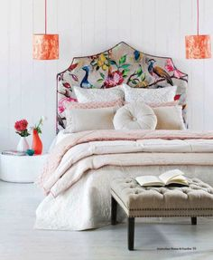 Exotic floral print for headboard