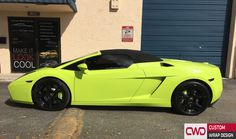 Lamborghini Wrapped in Gloss Lime Green Book an appointment today!! Call CWD 786-558-4848 http://www.cwdwrap.com