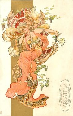 Art Nouveau Postcard, art by Eva Daniell, published by Raphael Tuck 1904 woman in red & green/gold, seated in fantastic chair Art Nouveau Mucha, Alphonse Mucha Art, Art Nouveau Poster, Art Nouveau Design, Art Design, Art And Illustration, Inspiration Art, Art Inspo, Jugendstil Design
