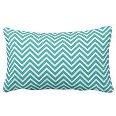 Modern, cool, elegant, trendy teal chevron zigzag throw pillow