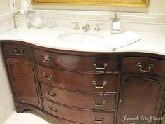 Turn a cheap dresser from a flea market into a furniture vanity. Eco Furniture, Diy Furniture Hacks, Furniture Vanity, Repurposed Furniture, Dresser Repurposed, Furniture Movers, Black Furniture, Furniture Stores, Pallet Furniture
