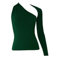 Dark green backless top One shoulder long sleeved shirt ($45) ❤ liked on Polyvore featuring tops, shirts, one sleeve top, long sleeve tops, green top, backless shirts and long-sleeve shirt