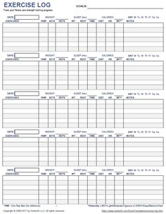 Download a printable exercise log to track your daily fitness and strength training progress.