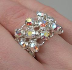Japanese Chain Maille Eternity Ring in Iridescent White Swarovski Crystal