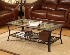 Slate/Glass/Steel Coffee Table | Overstock.com $142.19