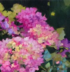 """Daily Paintworks - """"Garden Dance"""" - Original Fine Art for Sale - © Libby Anderson Hydrangea Painting, Acrylic Painting Flowers, Abstract Flowers, Watercolor Flowers, Hortensia Hydrangea, Autumn Painting, Painting Art, Watercolor Painting, Fine Art Auctions"""