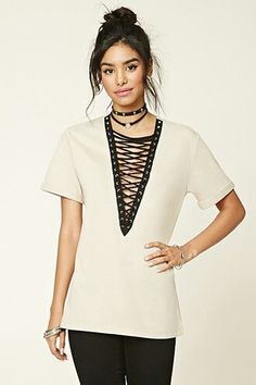 Deep lace up top