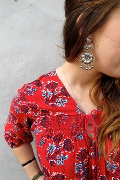 A Plenty by Tracy Reese top paired with Mexican Federico earrings <3 Viva México style! www.nomadcambridge.com