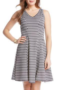 Karen Kane Geometric Print V-Neck A-Line Dress