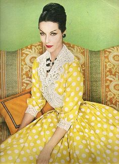 Lovely yellow dress with white polka-dots and lace trim by Harvey Berin as seen in Vogue, 1959