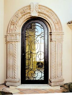Tuscan Old World French Mediterranean Homes Alhambra, Cantera Doors