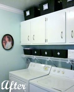 How to organize a laundry room...like the basket storage w/cute label idea