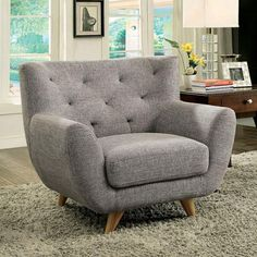 Enhance your living room& appeal with the chic Carin sofa set! Entirely upholstered in padded linen-like fabric. each piece features angled feet and armrests. Lean back against the button tufted backrest and let your worries drift away as you rel. Chair Upholstery, Sofa Chair, Sofa Set, Grey Chair, Chesterfield Chair, Chair Fabric, Modern Chairs, Midcentury Modern, Mid Century Modern Lighting