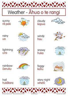 Weather Bilingual Chart School Resources, Teaching Resources, Teaching Ideas, Maori Tattoo Designs, Maori Tattoos, Borneo Tattoos, Tribal Tattoos, Waitangi Day, Maori Words