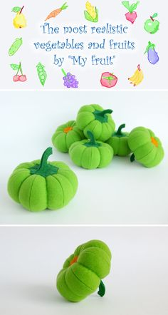 Felt play food Pumpkin green (1 pc) by MyFruit I suggest you to buy realistic stuffed toys, made of felt for your little ones. For playing the Garden