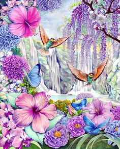 Hidden Valley by firedaemon on DeviantArt Fantasy Kunst, Fantasy Art, Paradise Pictures, Unicorn And Fairies, Decoupage, Paradise On Earth, Jehovah Paradise, Montage Photo, The Son Of Man