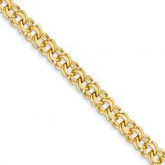 14k 7in 7.5mm Solid Double Link Charm Bracelet - Bracelets