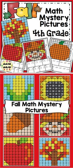Grade Fall Math Mystery Pictures: Fall Color By Number Activities Vocabulary Word Walls, Math Word Walls, Teaching Activities, Number Activities, Teaching Ideas, Math Skills, Math Lessons, 4th Grade Math, Grade 3
