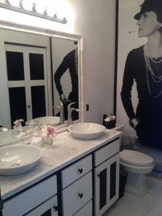 The Final Transformation-Step 3 of 3 Coco Chanel Inspired Bathroom with all Black & White Contrast.