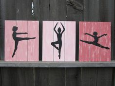 Ballerina Wall Art coral pink girl room decor by NWrustic on Etsy, $55.00