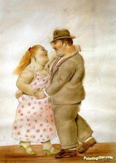 Dancers Artwork By Fernando Botero Oil Painting & Art Prints On Canvas For Sale Art Deco Illustration, Couple Illustration, Statues, Plus Size Art, Naive Art, Canvas Art Prints, Folk Art, Dancer, Artwork