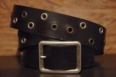 Black Leather Eyelet Belt  Size  Belt Buckle by CUERO925LEATHER, €25.00